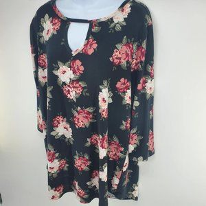 Bobbie Brooks - Black and Pink Floral - Blouse 3X.